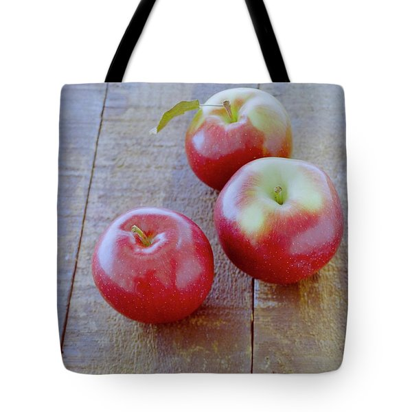 Three Red Apples Tote Bag