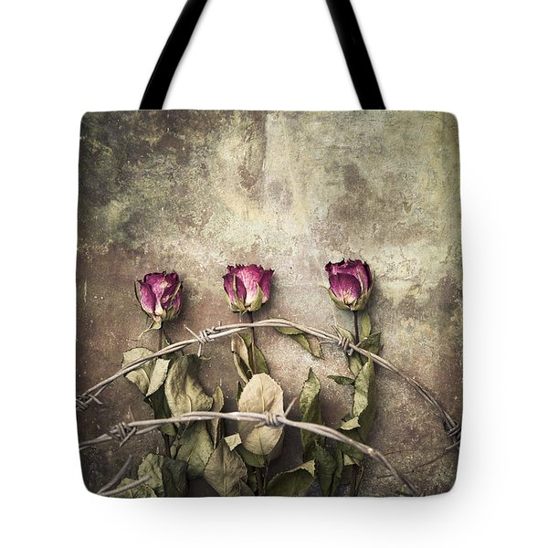Three Roses And Barbed Wire Tote Bag