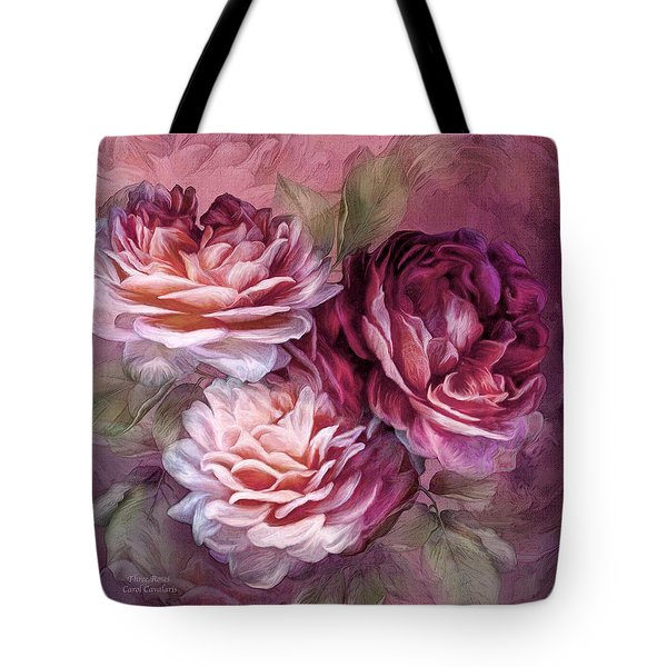 Tote Bag featuring the mixed media Three Roses - Burgundy by Carol Cavalaris