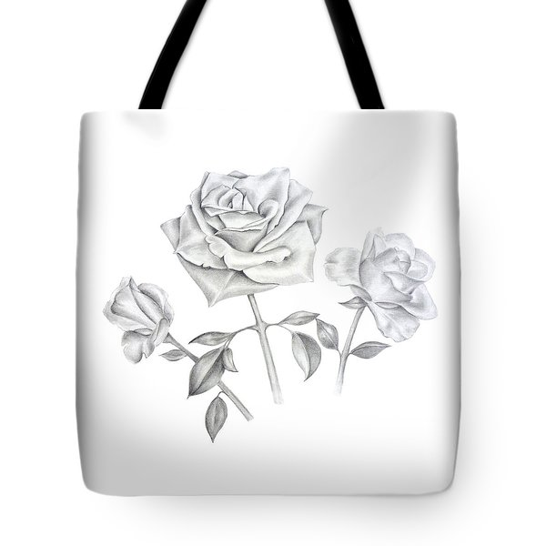 Tote Bag featuring the drawing Three Roses by Elizabeth Lock