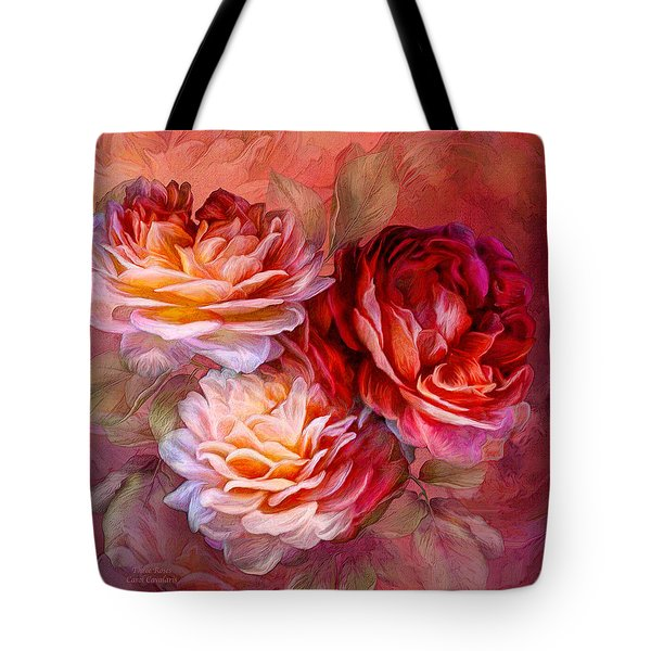 Tote Bag featuring the mixed media Three Roses - Red by Carol Cavalaris