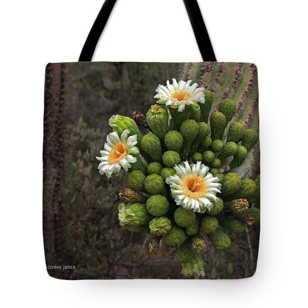Three Saguaro Blossoms And Many Buds Tote Bag by Tom Janca