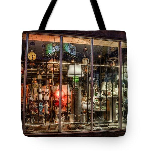 Three Shade Lamp Store Tote Bag by Mark Goodman