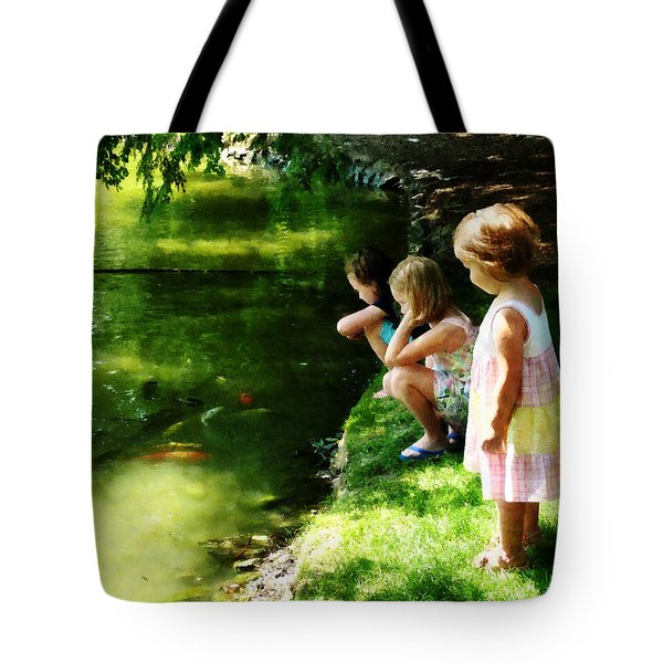 Three Sisters Watching Koi Tote Bag by Susan Savad