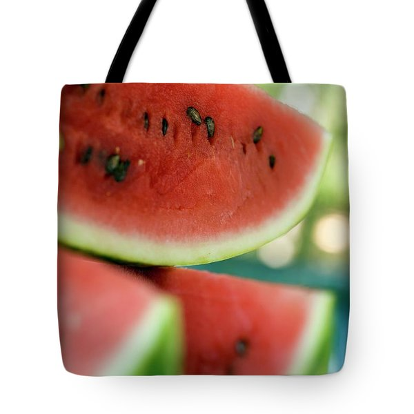 Three Slices Of Watermelon Tote Bag
