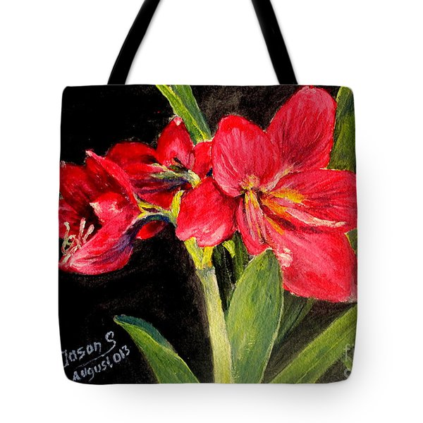 Three Stalks Of Lilies Blooming Tote Bag