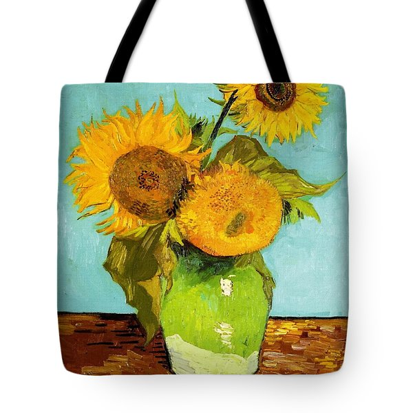 Three Sunflowers In A Vase Tote Bag