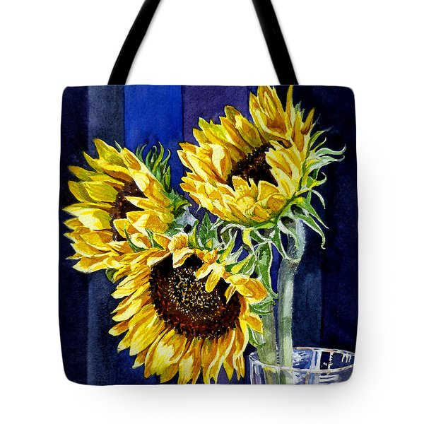 Three Sunny Flowers Tote Bag