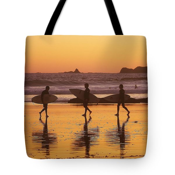 Three Surfers At Sunset Tote Bag