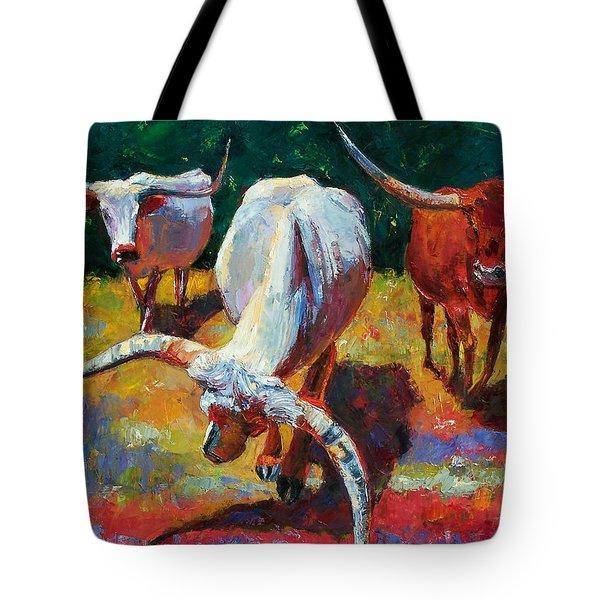 Three Texas Longhorns Tote Bag by Debra Hurd