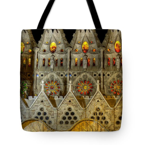 Three Tiers - Sagrada Familia At Night - Gaudi Tote Bag