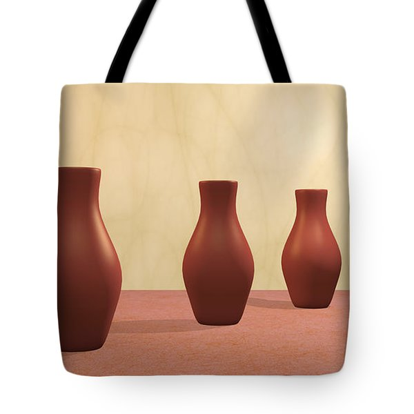 Tote Bag featuring the digital art Three Vases by Gabiw Art