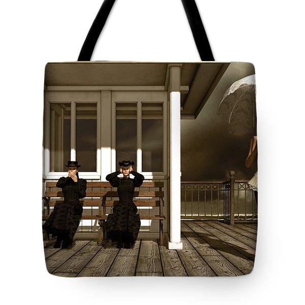 Three Victorian Ladies Sepia Tote Bag