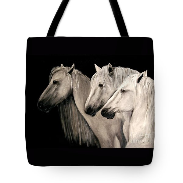 Three White Horses Tote Bag
