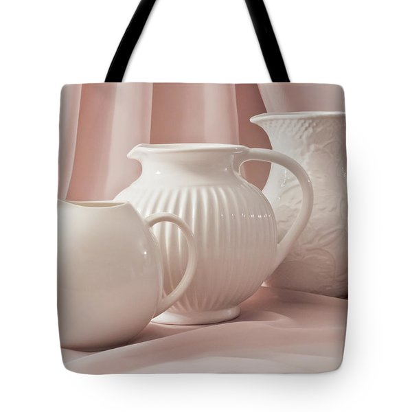 Tote Bag featuring the photograph Three White Pitchers by Sandra Foster