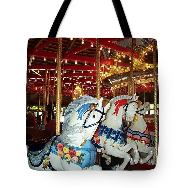 Tote Bag featuring the photograph Three White Ponies by Barbara McDevitt