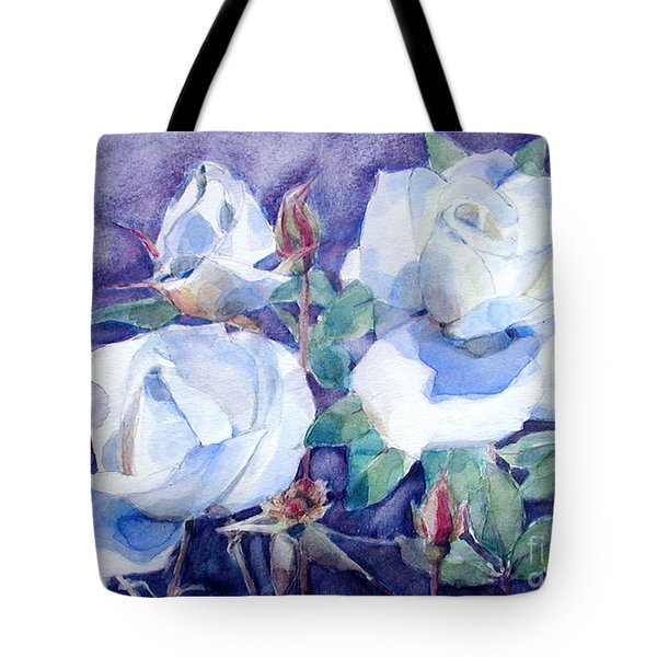 Tote Bag featuring the painting White Roses With Red Buds On Blue Field by Greta Corens