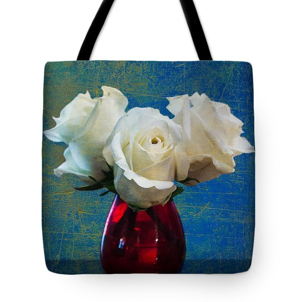 Three White Roses Tote Bag