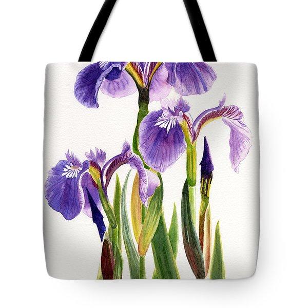 Three Wild Irises On White Tote Bag by Sharon Freeman