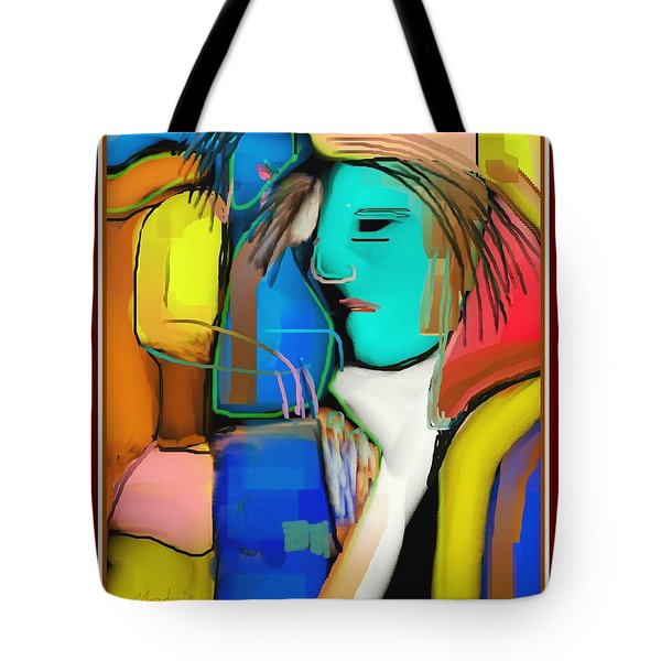 Three Women Conversing Tote Bag by Nedunseralathan R