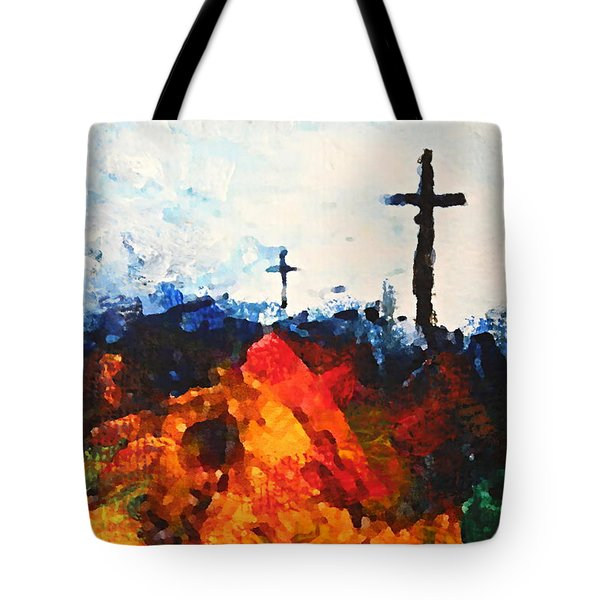 Three Wooden Crosses Tote Bag by Kume Bryant