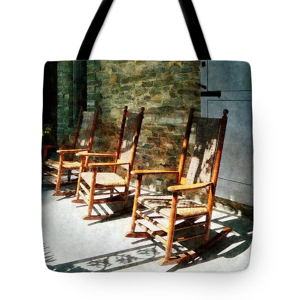 Three Wooden Rocking Chairs on Sunny Porch Tote Bag by Susan Savad