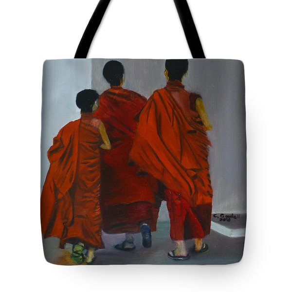 Three Young Monks Tote Bag