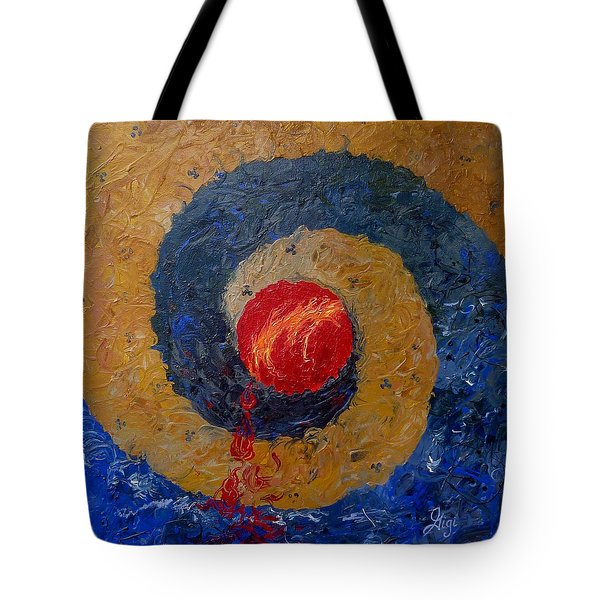 Tote Bag featuring the painting Threefold Anguish by Gigi Dequanne