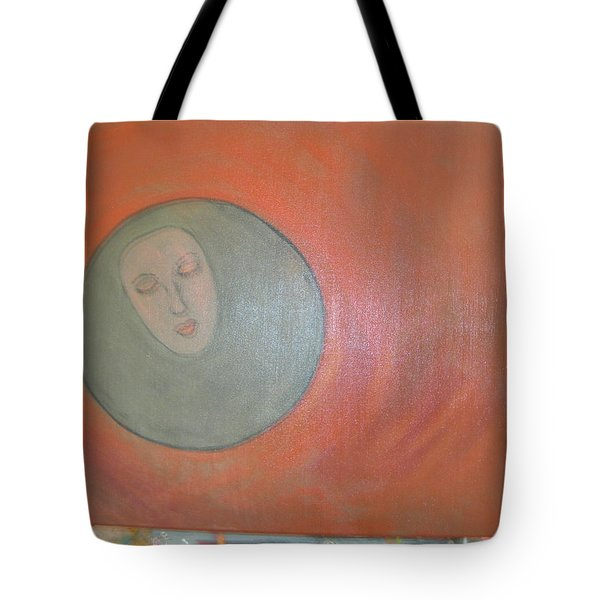 Tote Bag featuring the painting Through A Mirror Darkly by Sharyn Winters