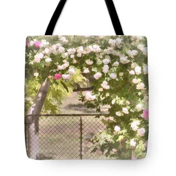 Tote Bag featuring the photograph Through The Rose Arbor by Elaine Teague