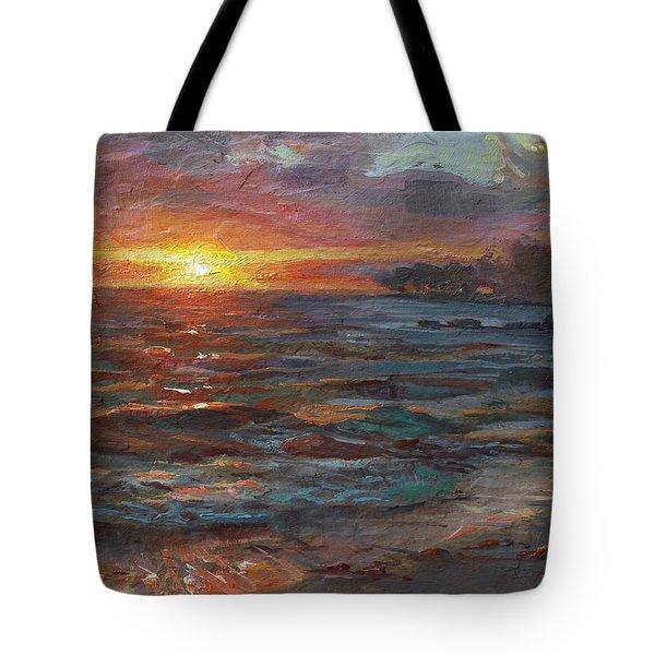 Through The Vog - Hawaii Beach Sunset Tote Bag by Karen Whitworth