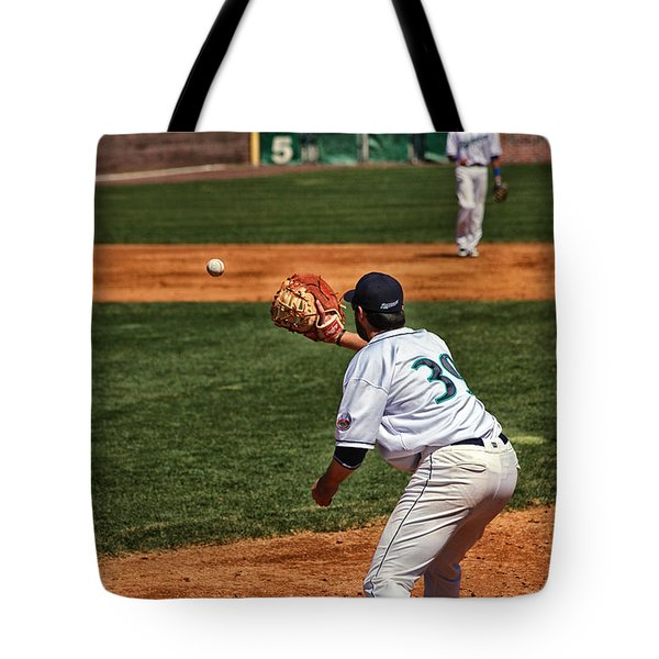 Throw To First Tote Bag by Karol Livote