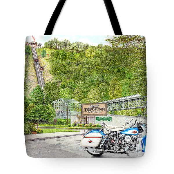 Tote Bag featuring the painting Thunder In Johnstown by Albert Puskaric