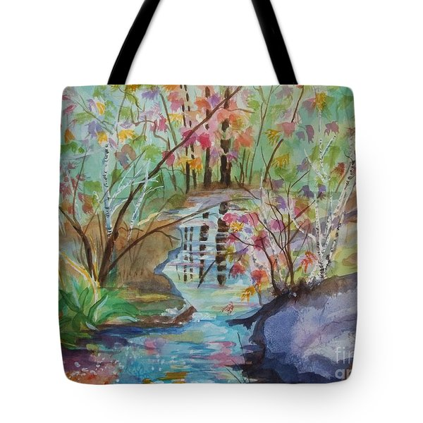 Tote Bag featuring the painting Thunder Mountain Mystery by Ellen Levinson