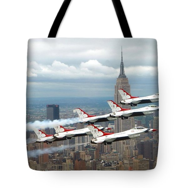 Thunderbirds Over New York City Tote Bag by U S A F