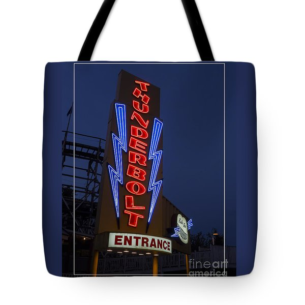 Thunderbolt Rollercoaster Neon Sign Tote Bag by Edward Fielding