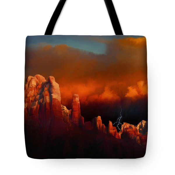 Thunderstorm Over Sedona Tote Bag by Dale Jackson