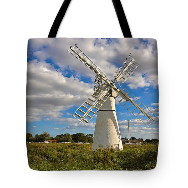 Thurne Dyke Windpump On The Norfolk Broads Tote Bag by Louise Heusinkveld