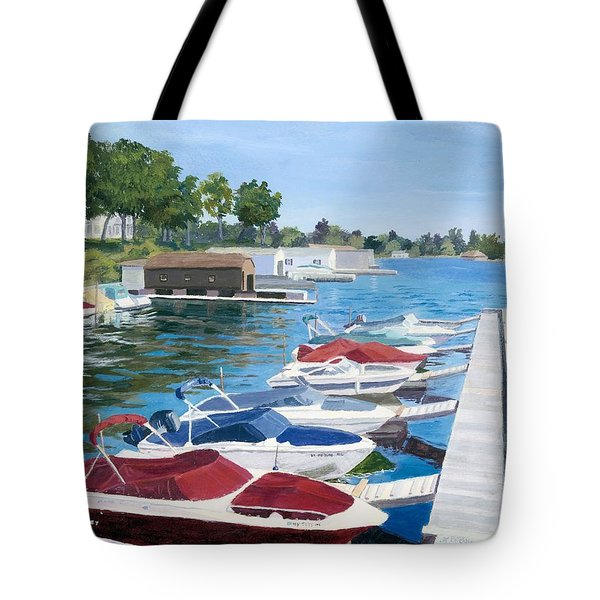 Tote Bag featuring the painting T.i. Park Marina by Lynne Reichhart