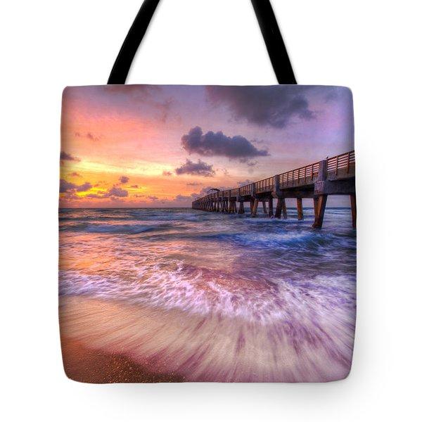 Tidal Lace Tote Bag by Debra and Dave Vanderlaan