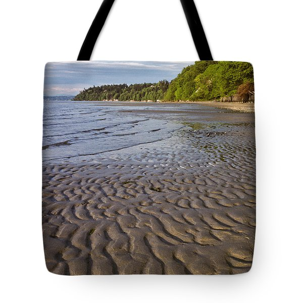 Tote Bag featuring the photograph Tidal Pattern In The Sand by Jeff Goulden