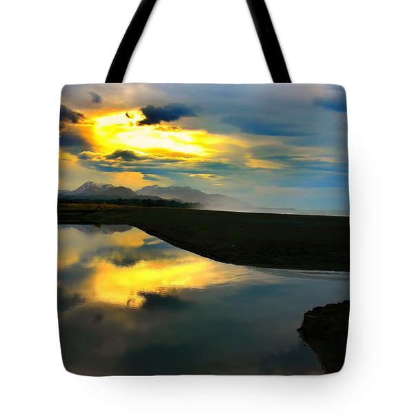 Tote Bag featuring the photograph Tidal Pond Sunset New Zealand by Amanda Stadther