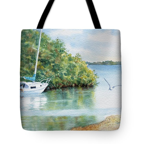 Tote Bag featuring the painting Tide's Out by Roger Rockefeller