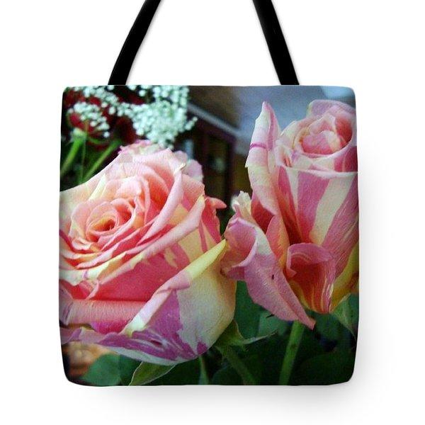 Tie Dye Roses Tote Bag