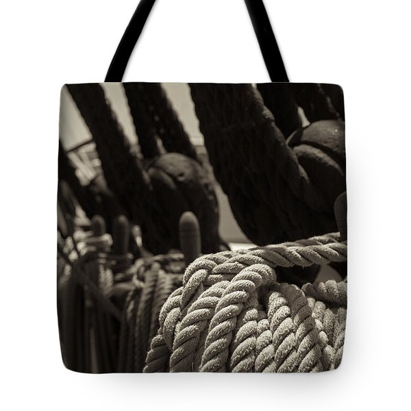 Tied Up Black And White Sepia Tote Bag