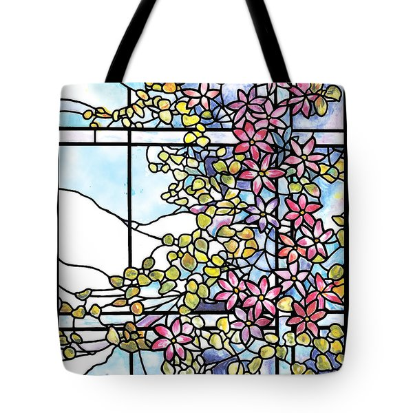 Stained Glass Tiffany Floral Skylight - Fenway Gate Tote Bag by Donna Walsh