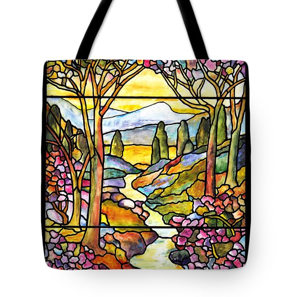 Tiffany Landscape Window Tote Bag by Donna Walsh