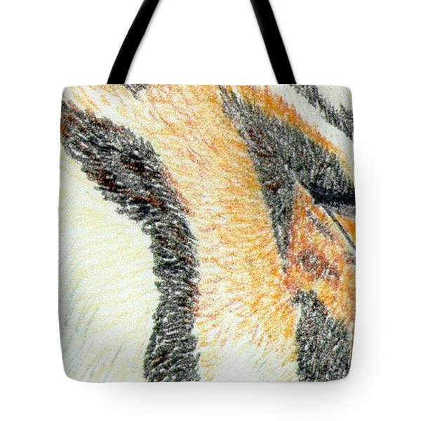 Tote Bag featuring the drawing Tiger Amber by Stephanie Grant