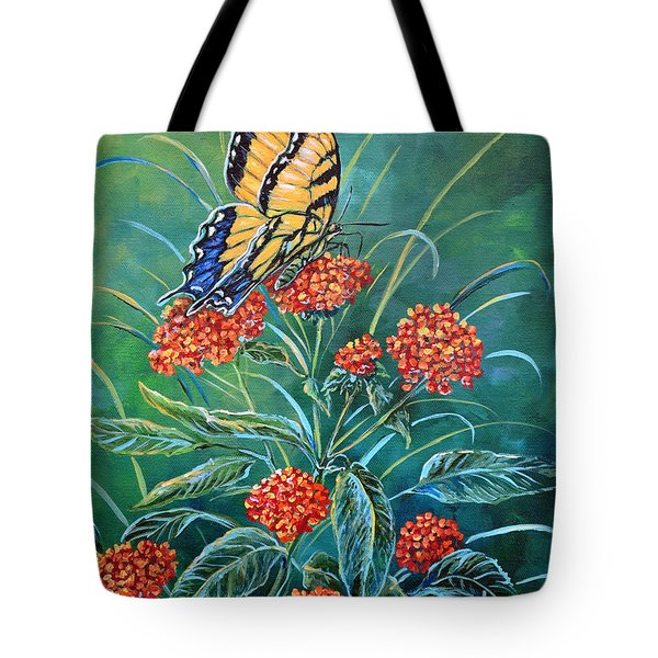 Tiger And Lantana Tote Bag