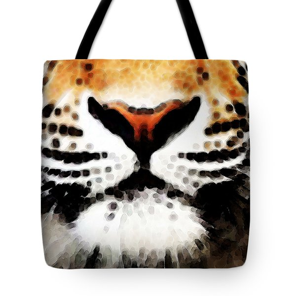 Tiger Art - Burning Bright Tote Bag by Sharon Cummings